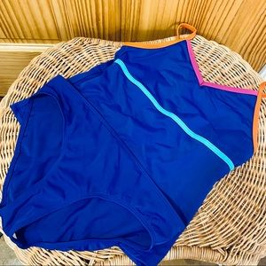 Lands End blue matching two piece tankini suit 12